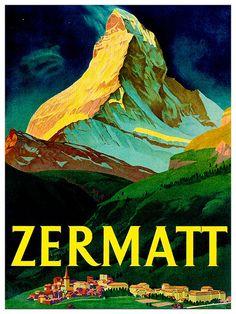 Zwitserland reizen Art Print Zermatt Vintage Swiss Home Decor