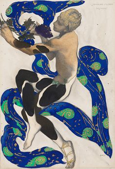 Diaghilev and the Ballets Russes, 1909-1929: When Art Danced with Music. Léon Bakst, Russian, 1866–1924, Costume design for Vaslav Nijinsky as the Faun from The Afternoon of a Faun, 1912, graphite, tempera, and gold paint on paper, Wadsworth Atheneum Museum of Art, Hartford, CT, The Ella Gallup Sumner and Mary Catlin Sumner Collection Fund