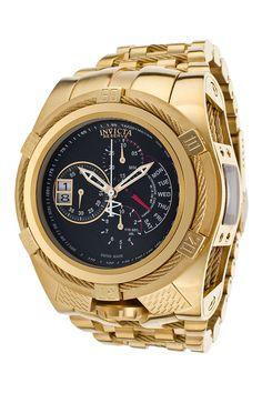Invicta Bolt Tria Quartz Watch - Gold case with Gold tone Stainless Steel band - Model 16956 Cool Watches, Watches For Men, Unique Watches, Popular Watches, Stainless Steel Watch, Watch Brands, Luxury Watches, Quartz Watch, Gold Watch
