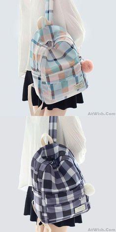 Fresh Lattice School Bag Grid Large College Canvas Backpack – Bag World Cute School Bags, School Bags For Girls, Back To School Backpacks, Girl Backpacks, College Backpacks, Canvas Backpacks, Leather Backpacks, Leather Bags, Backpack For Teens