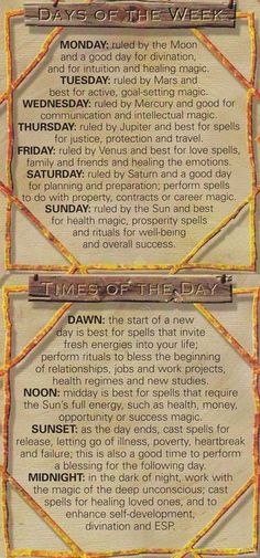 Book of Shadows: Days of the Week ~ Times of the Day