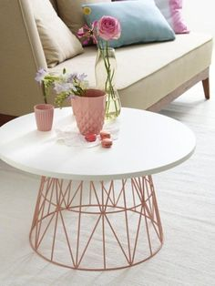 Lightweight Wire Basket Tables: DIY Decor Trend | Apartment Therapy #diy_table_modern
