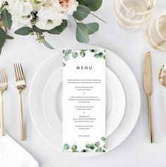 Greenery Wedding Menu Eucalyptus Menu Template Green Leaves