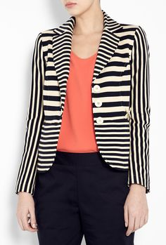 Blue and Cream Stripe Cotton Jersey Jacket by Love Moschino