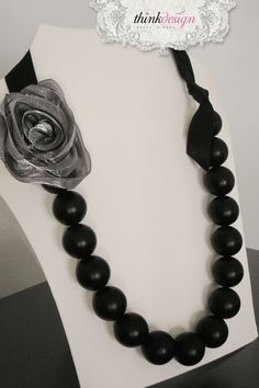 Pearl necklace with ribbon, decorated with rose pin. Interested in buying?  Please contact @ my_thequill@yahoo.gr