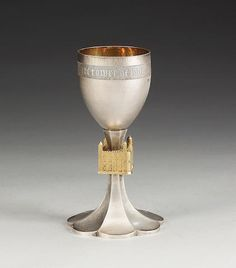 ROBERT WELCH : A cased silver and silver gilt commemorative goblet, London 1978, limited edition 21