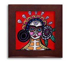 Día de la cerámica de arte popular mexicano muerto enmarcado