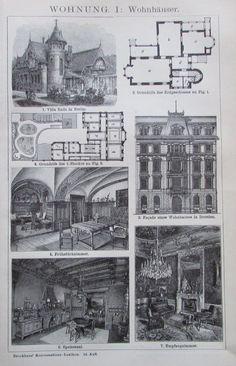 WOHNUNG I. II. 1895 Original Druck Antique Print Lithographie Brockhaus   eBay   < 432° slo lex https://de.pinterest.com/arpadmiler/brockhaus-lexicon/
