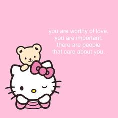 ♥ please don't blame yourself for what others have done ♥ Hello Kitty Themes, Hello Kitty My Melody, Cute Love Memes, Cute Messages, Bizarre, Sanrio Characters, Pink Aesthetic, Aesthetic Anime, Wholesome Memes