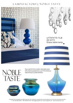 Blue glass table lamp.