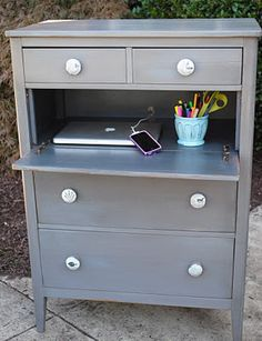 remove a drawer and add a hinge to its face for a mini desk. Nightstand idea if hinged 'desk' lines up with bed side.