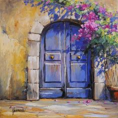 Pink roses rain in front of the blue monastery gate … who has these brass buttons? Impressionist Landscape, Landscape Art, Landscape Paintings, Greek Paintings, Art Et Illustration, Blue Painting, Art Moderne, Pastel Art, Pictures To Paint