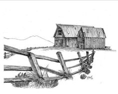 creative drawing Print, Pen and Ink Drawing of Two Barns, The Lonesome Couple, X Sketchbook Drawings, Pencil Art Drawings, Drawing Sketches, Cool Drawings, Sketching, Drawing Designs, Charcoal Drawings, Drawing Tips, Barn Drawing