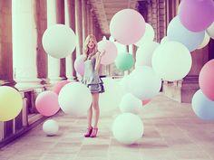 Sugar High;   pastel colors  pastel fashion  pastel balloons  #sweet #sorbet #light #pastel #delicate #fashion #trendy #chic #gorgeous #stunning #model #lips #balloons
