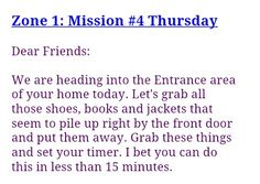 FlyLady Zone 1 Mission 4 Thursday Flylady Zones, Fly Lady Cleaning, Dear Friend, Homemaking, Clean House, Cleaning Hacks, Love You, Organization, Hospitality