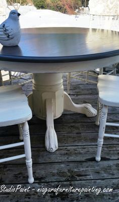 Painted Pressback Oak Chairs and Table - Studio Paint