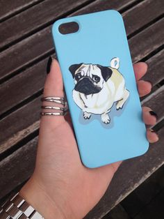 Pug Dog Blue Cell Phone Case iPhone 3 3GS 4 4S 5 5S 5C Samsung Galaxy S2 S3 S4 Mini Note 2 Sony Xperia Z Blackberry Z10 Curve Bold HTC One on Etsy, $25.68