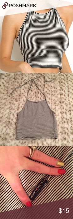 Brandy Melville high neck Halter crop top Brandy Melville high neck Halter crop top! White and black striped! One size. Fits small to medium! Too cute no flaws Brandy Melville Tops Crop Tops