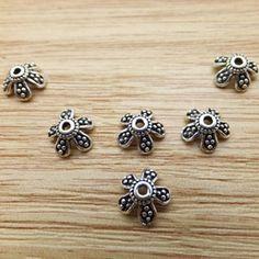 925 Sterling Silver Thai Silver Flowers five petals Charm Bead Caps DIY Findings LFJ47