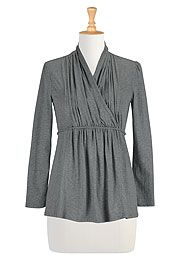 Cord tied melange knit tunic