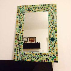 Ba o decorado con bacha y espejo en mosaiquismo atenea - Como decorar un espejo de bano ...
