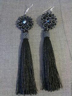 Купить Серьги с кистями - черный, серьги кисти, сережки с кисточками, серьги ручной работы