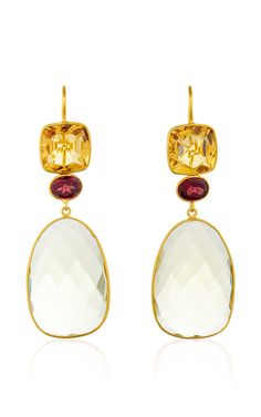 18K Yellow Gold Ear Pendants With Citrine, Garnet And Lemon Quartz - Bahina Resort 2016 - Preorder now on Moda Operandi
