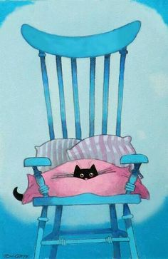 Black cat on pink pillow in blue chair Crazy Cat Lady, Crazy Cats, I Love Cats, Cute Cats, Neko, Black Cat Art, Black Kitty, Black Cats, Photo Chat