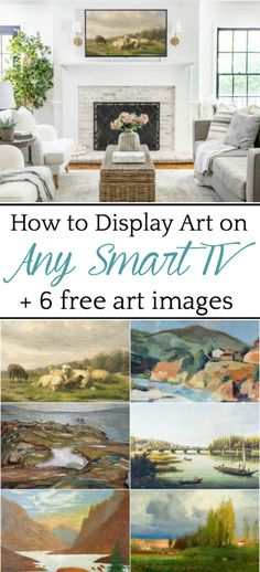 Unique Home Decor How to Display Art on Any Smart TV 6 Free Art Images - Bless'er House A quick tutorial to make any smart TV display art to mimic the Samsung Frame TV 6 free art images to use as TV displays or to print. Unique Home Decor, Cheap Home Decor, Tv Display, Framed Tv, Free Art Prints, Mediterranean Decor, Minimalist Decor, Decorating On A Budget, Smart Tv