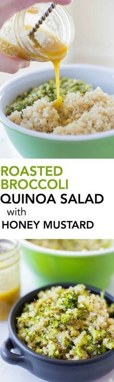 Roasted Broccoli Quinoa Salad with Honey Mustard Dressing: a quick and easy 30-minute meal that's loaded with healthy ingredients and delicious flavors! It's gluten free and vegetarian, with a simple swap to make it vegan! http://www.fooduzzi.com/2016/02/roasted-broccoli-quinoa-salad-with-honey-mustard-dressing/