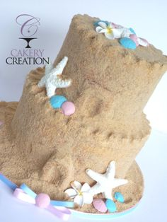 Sand Castle baby shower cake for twins - by Cakery Creation