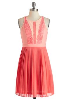 Applique Ballet Dress - Mid-length, Coral, Solid, Cutout, Lace, Pleats, Party, A-line, Sleeveless, Crew, Daytime Party, Spring