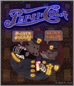"""Pepsi:Cola / Large animated neon advertising sign at """"New York, New York"""""""