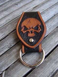 Sky pirate! Carved leather skull key fob.