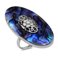 Royal Bali Collection Abalone Shell Ring in Sterling Silver Nickel Free (Size 9) TGW 22.00 Cts.
