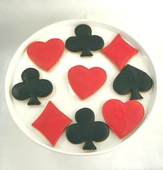 Playing Card Cookies - Red & Black - Sugar Cookies - 1 Dozen by PSSweet on Etsy