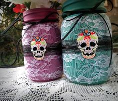 Painted mason jars decorated lace mason jars day of by QUEENBEADER, $21.00