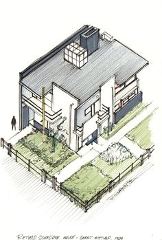 20 Beautiful Axonometric Drawings of Iconic Buildings,Schroder House / Gerrit Rietveld / 1925. Image Courtesy of Diego Inzunza - Estudio Rosamente