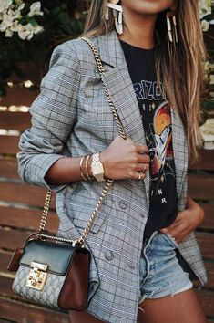 Check Plaid Blazer / Street style fashion / fashion week #fashionweek #fashion #womensfashion #streetstyle #ootd