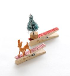 DIY Adorned Glittered Clothespin GiftToppers - Home - Creature Comforts - daily inspiration, style, diy projects + freebies