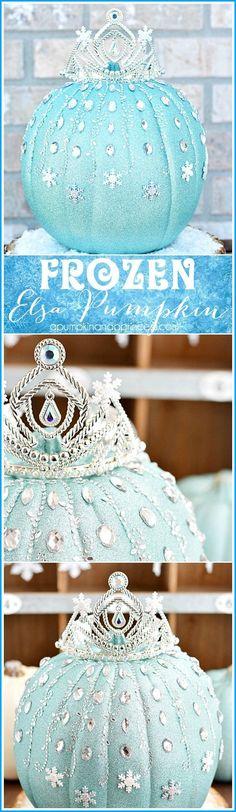 2014 Halloween Disney sparkly Frozen Pumpkin decored with rhinestones and princess tiara - snowflakes, Elsa #2014 #Halloween