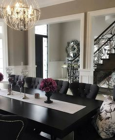 Home Dining Room Decor Table Living room dining table Chair Interior design Furniture Dining Table In Living Room, Elegant Dining Room, Luxury Dining Room, Luxury Rooms, Elegant Home Decor, Dining Room Design, Elegant Homes, Black Dining Room Furniture, Cafe Furniture