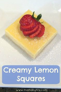 These delicious Creamy Lemon Squares are perfect for any occasion! http://www.mamabyfire.com/2016/02/15/creamy-lemon-squares/