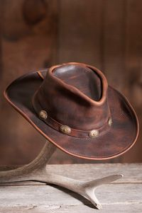 Raging Bull Leather Cowboy Hat - Hat For Women - Ideas of Hat For Women - You'll find an awesome selection of cool leather hats here for men and for women. There are leather western hats leather biker caps leather Leather Cowboy Hats, Cowgirl Hats, Cowgirl Style, Sombrero Cowboy, Hats For Short Hair, Chapeau Cowboy, Moda Formal, Mode Jeans, Leather Projects