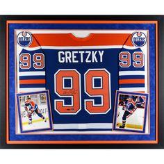 Wayne Gretzky Edmonton Oilers Upper Deck Deluxe Framed Autographed Blue CCM  Jersey - Upper Deck 551778472