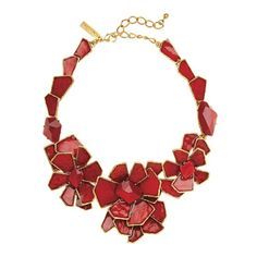 Oscar de la Renta Large Floral Bib Necklace (2.160 BRL) ❤ liked on Polyvore featuring jewelry, necklaces, cinnabar, dot necklace, dot jewelry, nickel free jewelry, bib necklace and nickel free necklaces