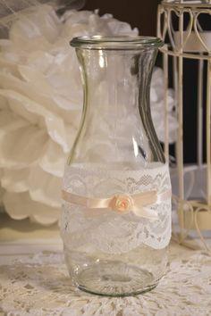 Vintage Vase mit Spitze Shabby Chic, Weck-Flasche von Vintage-Wedding & Love auf DaWanda.com
