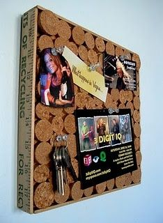 Recycled corks and yardstick corkboard
