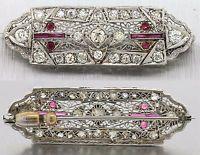 1920s Antique Art Deco Platinum Diamond Ruby Brooch