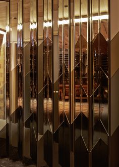 Hotel Hotel / March Studio - www. Partition Design, Glass Partition, Interior Walls, Luxury Interior, Glass Design, Wall Design, Spiegel Gold, Mirror Panels, Lobby Design